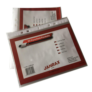 Pack of 20 A5 Glass Clear Punched Pockets by Janrax