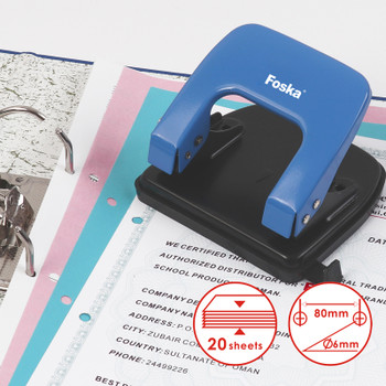 Coloured Metal Hole Paper Punch with Paper Adjustment Measure