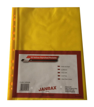 Pack of 250 A4 Yellow Clear Punched Pockets by Janrax