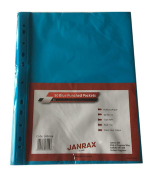 Pack of 250 A4 Blue Clear Punched Pockets by Janrax