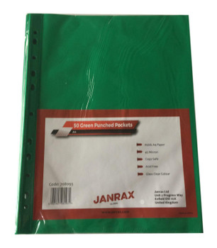 Pack of 250 A4 Green Clear Punched Pockets by Janrax