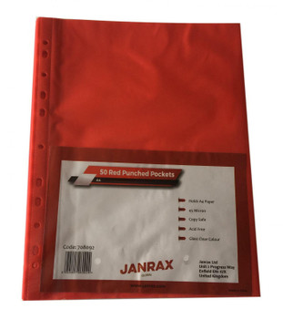Pack of 250 A4 Red Clear Punched Pockets by Janrax