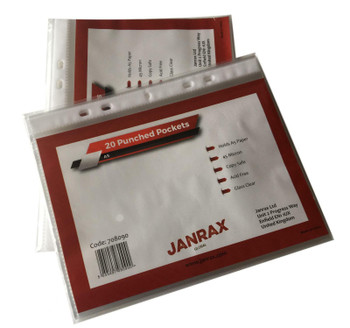 Pack of 500 A5 Glass Clear Punched Pockets by Janrax