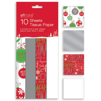 10 Sheets Christmas Printed Tissue Paper