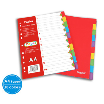 A4 10 Part Coloured Card Index Dividers