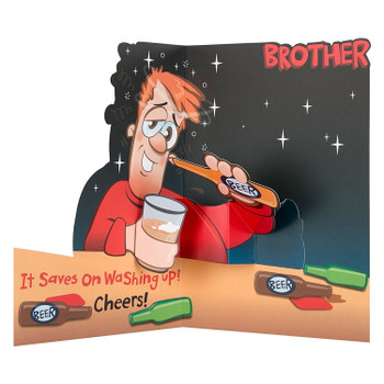 "Brother Humour Funny Pop-up Birthday Greeting Card ""Beer"""