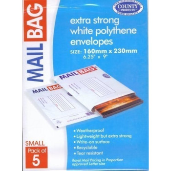 Pack of 5 Extra Strong Small Mail Bags 160x230mm