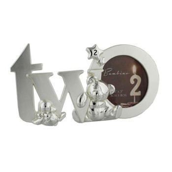 """Two"" Photo Frame Bambino Silverplated Cut Out Letters 3"" x 3"" Gift"