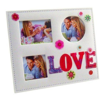 """Love"" 3 Aperture Embroidered Photo Frame In a Gift Box"