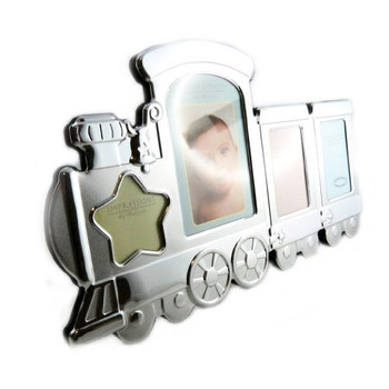 2 Tone Aluminium Train Photo Frame 4 Aperture