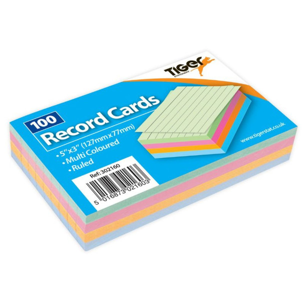 """100 Sheet Pack of Record Flash Cards Coloured Study Revision Coloured 5x3"""""""
