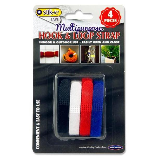 Pack of 4 Multipurpose Hook & Loop Straps by Stik-ie