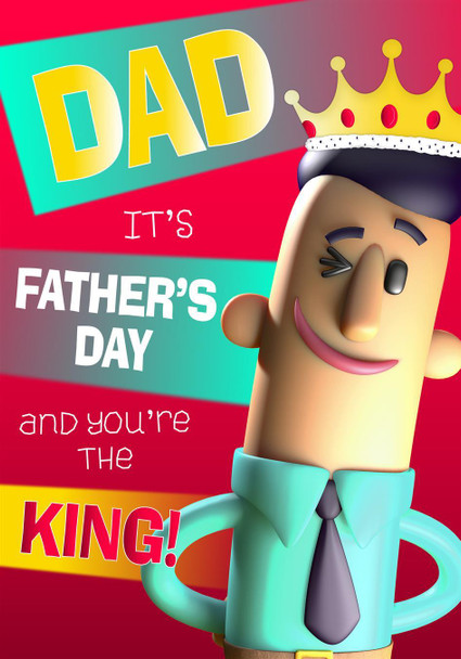 Dad You're King 3D Funny Father's Day Card Hallmark