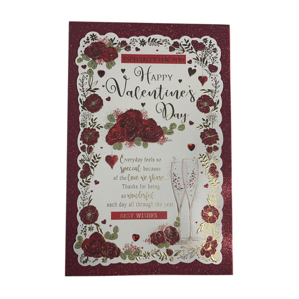 Especially For You Happy Valentine's Day Roses Design Open Card