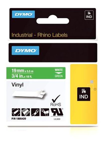 """""""Vinyl Label, White on Green, 3/4"""""""" (1805420)"""