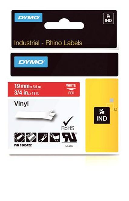 """Vinyl Label, White on Red, 3/4"""" (1805422)"