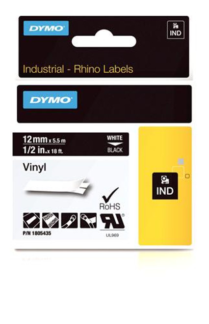 """Vinyl Label, White on Black, 1/2"""" (1805435)"