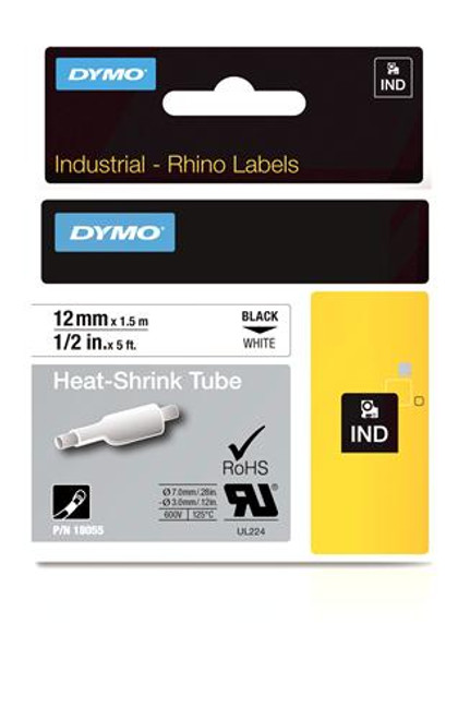 """Heat Shrink Tube Label, Black on White, 1/2"""" (18055)"