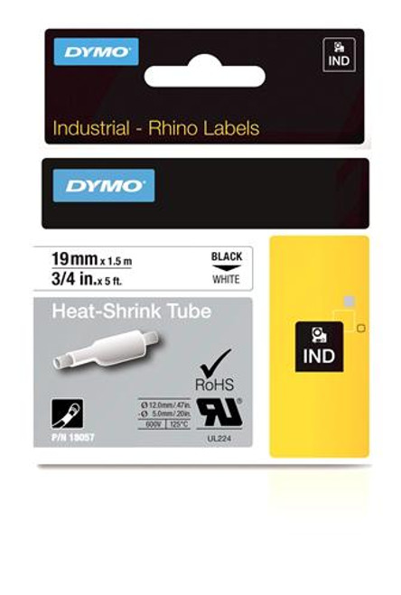 """Heat Shrink Tube Label, Black on White, 3/4"""" (18057)"