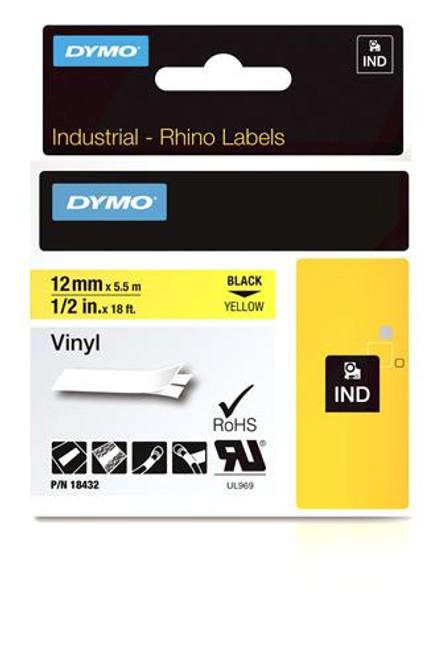 """Vinyl Label, Black on Yellow, 1/2"""" (18432)"