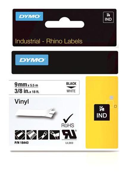 """Vinyl Label, Black on White, 3/8"""" (18443)"