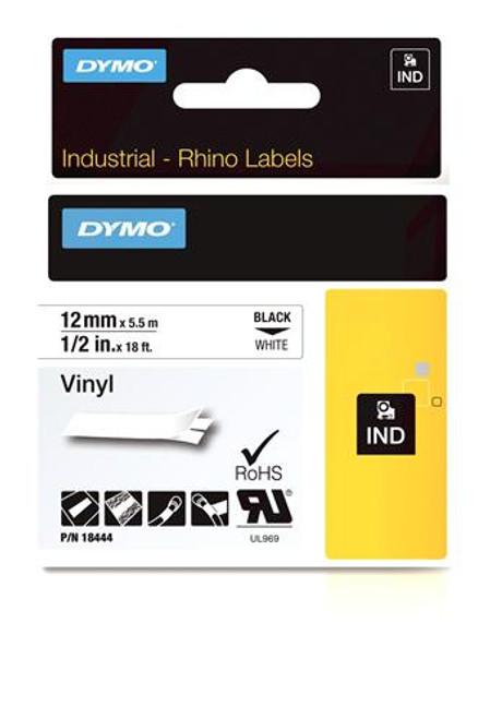 """Vinyl Label, Black on White, 1/2"""" (18444)"