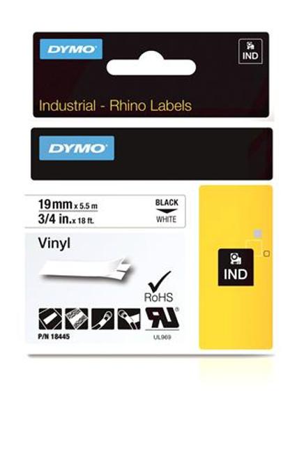 """Vinyl Label, Black on White, 3/4"""" (18445)"