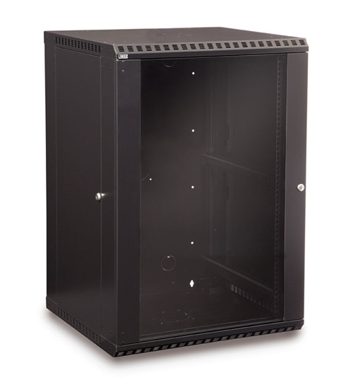 18U LINIER Fixed Wall Mount Cabinet - Glass Door (3140-3-001-18)