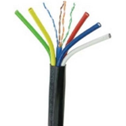 5 Conductor/Mini RG59/U 25 AWG Solid Bare Copper + 1x CAT5E 250 MHz Cable - Black (RGB-6)