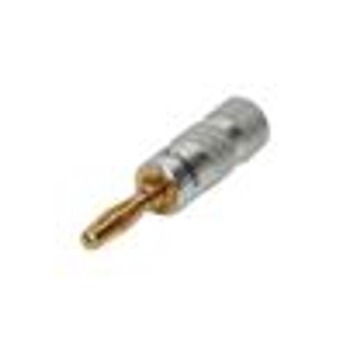 Banana Plug; Metal W / Red Band; Gold Plated Contact (CAU-1414)