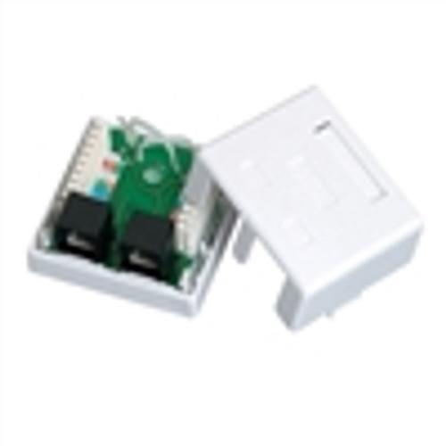 CAT5E Surface Mount Box; Dual RJ45; 8P8C; Loaded; 110IDC; 568A/B; White (NSB-5130)