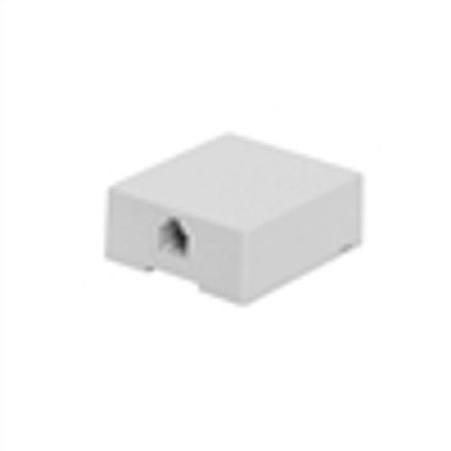 CAT3 Surface Mount Box; Single RJ11; 6P4C; Loaded; USOC; White (NTB-1402)