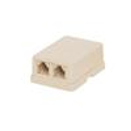 CAT3 Surface Mount Box; Dual RJ11; 6P4C; Loaded; USOC; Ivory (NTB-2401)