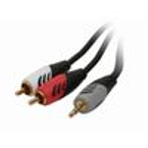 3.5MM Adapter Cable; 3.5(M) to (2)RCA(M); Dual Mold; Red / White; 12FT (VCA-8312)