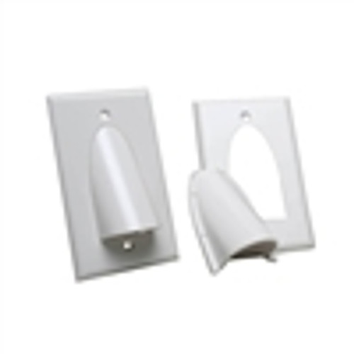 Wall Plate; Polished Single-Gang for Bulk Cable - White (VHT-8101)