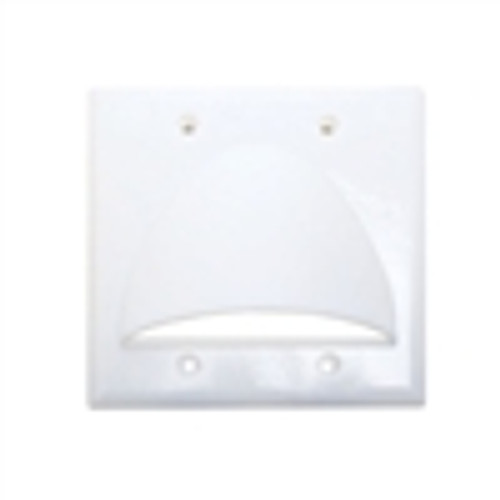 Wall Plate; Polished Dual Gang for Bulk Cable - White (VHT-8201)