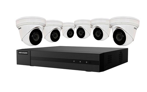Kit, Six 4MP Outdoor Turret Cameras with 2.8mm lens and 8ch 4K NVR with PoE, up to 8MP recording, H.265+ compression, 2TB HDD