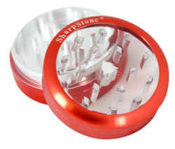 "SharpStone 2-Piece Grinder Glass Top Colored 2.5"" - Red"