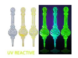"Pulsar 6"" Dual Action UV Reactive Glass Pipe w/ Vapor Tip"