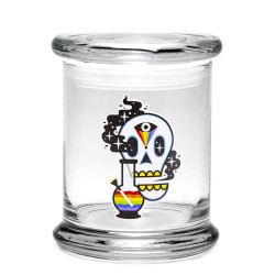420 Science Pop Top Jar Large - Cosmic Skull