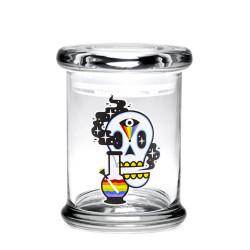 420 Science Pop Top Jar Medium - Cosmic Skull