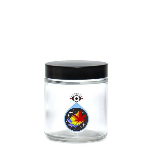 420 Science Clear Screw Top Jar Medium - All Seeing Leaf