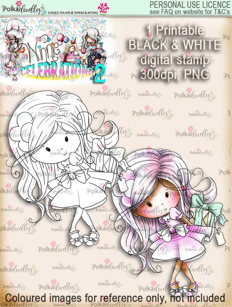 Winnie Surprise Gift - Black and White Digis