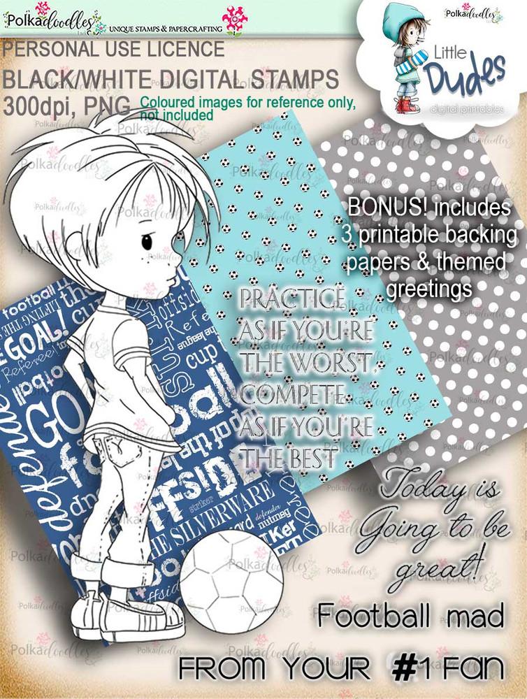 Football Soccer Little Dude Little Dudes Digi Stamp Printable