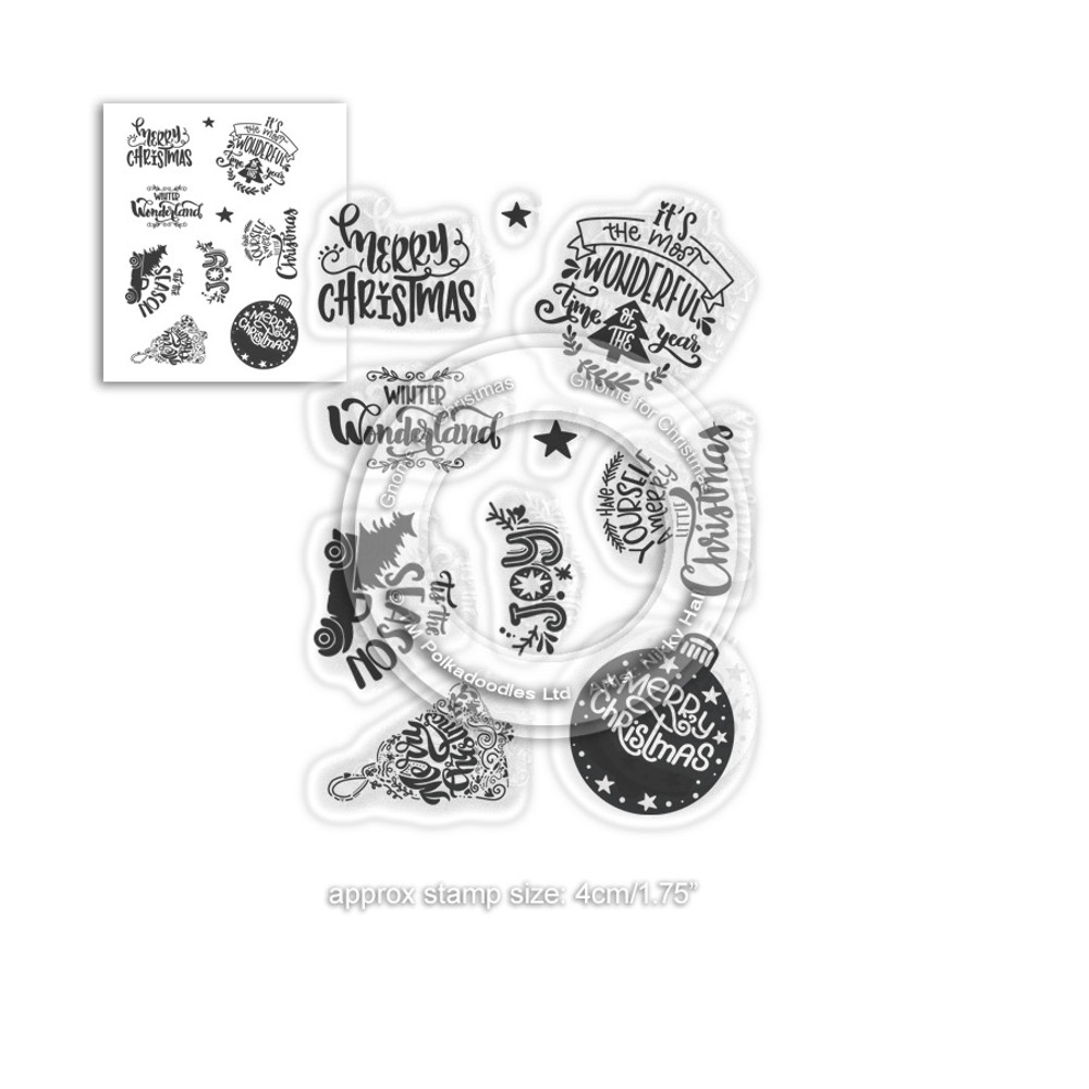 A6 Clear Stamp Christmas Sentiments Magic of Christmas Merry and bright