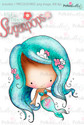 Lil Miss Mermaid precoloured digi stamp - Lil Miss Sugarpops 3...Craft printable download digital stamps/digi scrap
