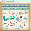 Apple Lagoon - digiscrap kit borders, buttons, bows