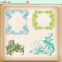 Apple Lagoon - digiscrap kit frames, corners, flourishes