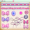 Berry Crush Digi Scrap Kit - borders, bows, buttons