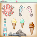 Lemon Top Digi Scrap Kit - ocean, sea, whale, fish, lighthouse, seahorse, ice cream, octopus